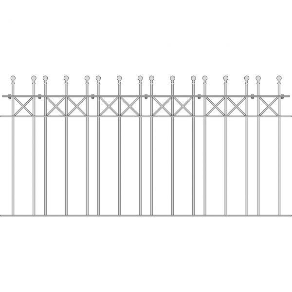 Zaunelement Sonderlänge - Metallzaun Parkallee Classic Kugel H: 90cm