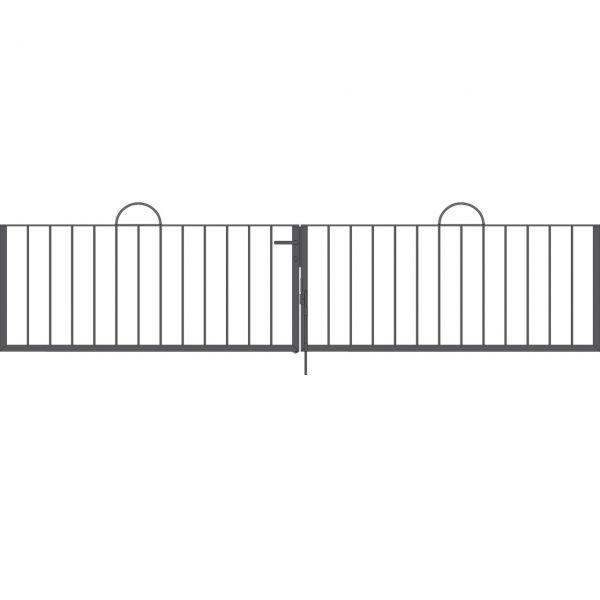 Toranlage 2-flügelig - Metallzaun Gartenstraße Bogen H: 90cm