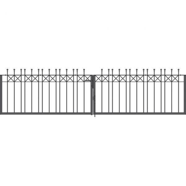 Toranlage 2-flügelig - Metallzaun Parkallee Classic Kugel H: 90cm