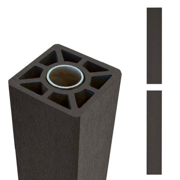 WPC Pfosten Stahlkern, 9x9cm, schiefergrau