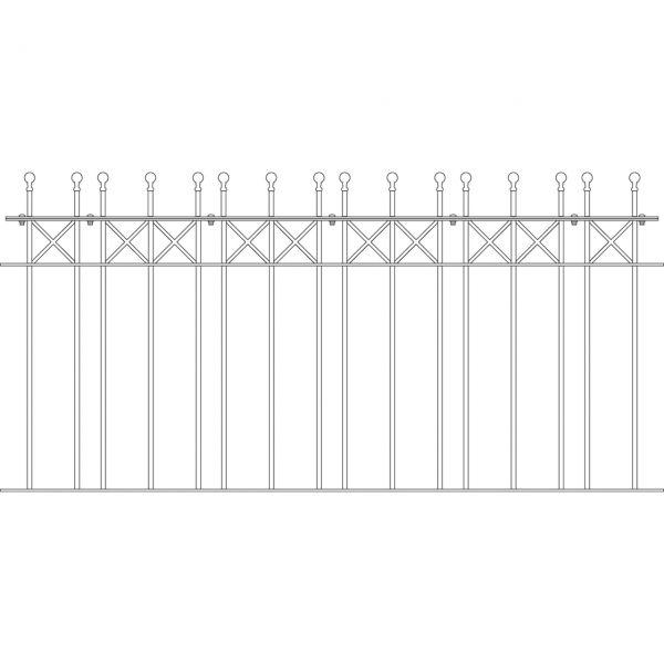 Zaunelement - Metallzaun Parkallee Classic Kugel H: 90cm