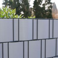 PVC-Flex Sichtschutzstreifen Doppelstabmattenzaun, aluminium Höhe x Länge:19 x 210 cm