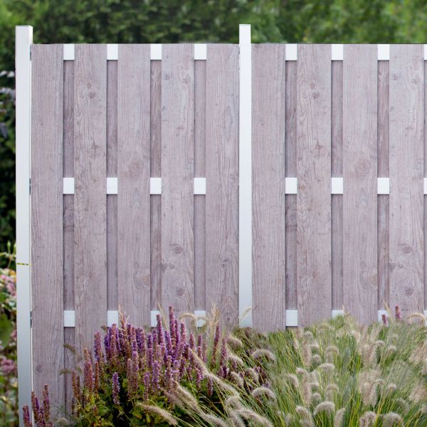 HPL Sichtschutzzaun gelattet, Holzoptik grau 180 x 90cm