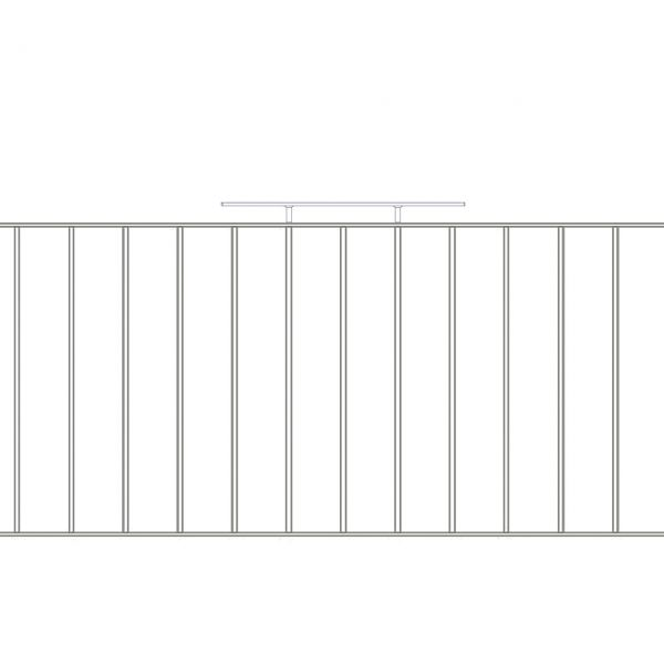 Zaunelement Sonderlänge - Metallzaun Gartenstraße Profil H: 90 cm