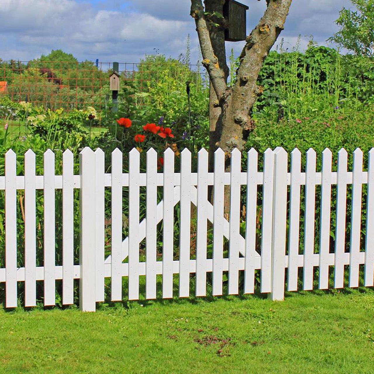 Gartenzaun Holz Skagen Weiss 80cm