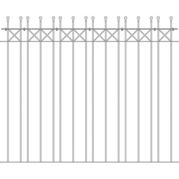 Zaunelement Sonderlänge - Metallzaun Parkallee Classic Kugel H: 150cm