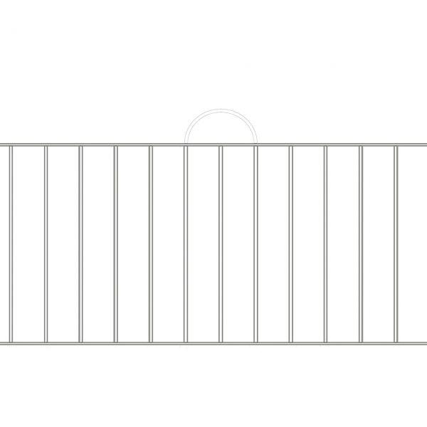 Zaunelement Sonderlänge - Metallzaun Gartenstraße Bogen H: 90cm