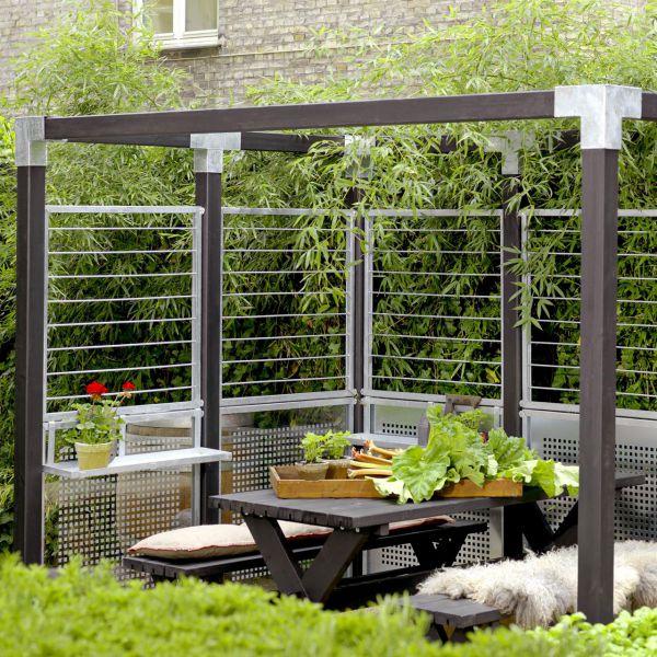 Stahlspalier in Zinkrahmen, Sichtschutzelement Cubic
