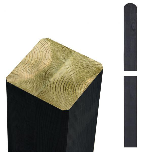 Premium Leimholzpfosten 9x9cm, Rundkopf schwarz