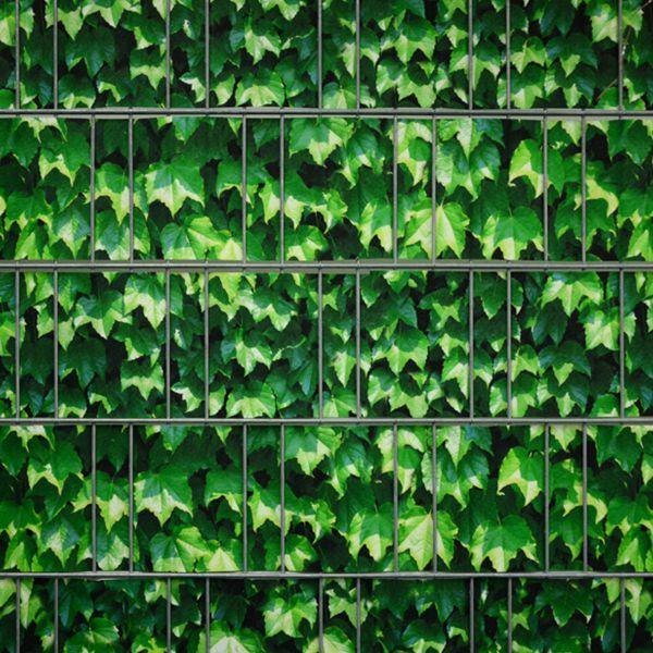 Sichtschutzstreifen bedruckt, Motiv Weinblatt grün