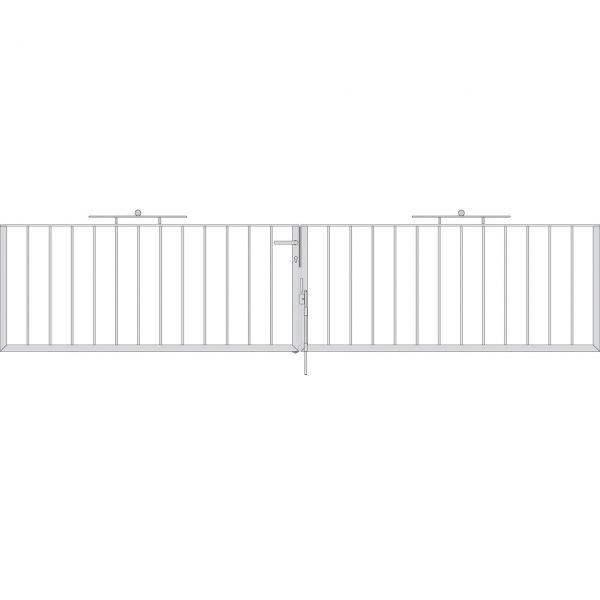 Toranlage 2-flügelig - Metallzaun Gartenstraße Kugel H: 90 cm
