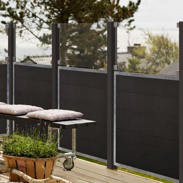 WPC Sichtschutz-Zaun Futur, Glas 53 cm