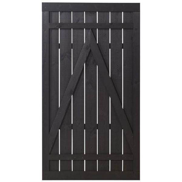 Sichtschutztür Holz, Rustig schwarz