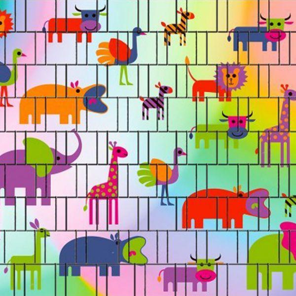 Sichtschutzstreifen bedruckt, Motiv kunterbunte Tiere