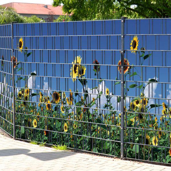 Sichtschutzstreifen bedruckt, Motiv Sonnenblumen gelb