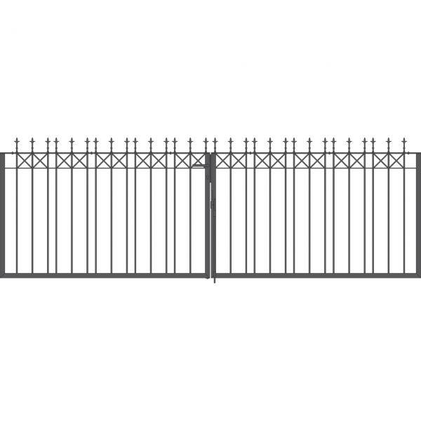 Toranlage 2-flügelig - Metallzaun Parkallee Classic Lilie H: 120cm