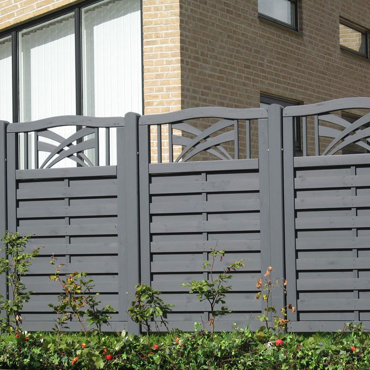 Holz Sichtschutz Zaun Ronda Anthrazit