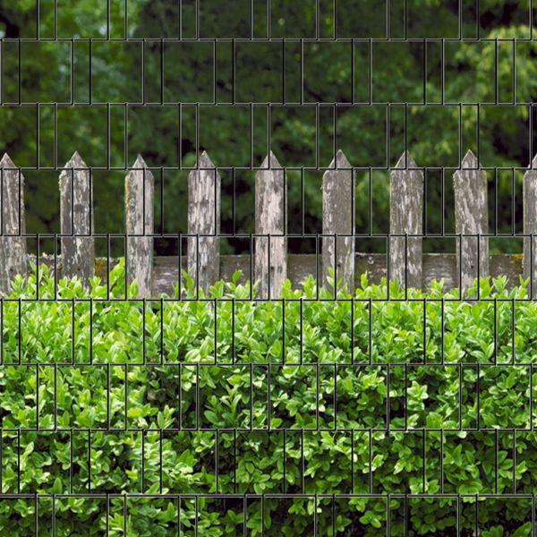 Sichtschutzstreifen bedruckt, Motiv Holzzaun und Buxus